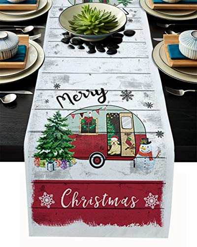 Xmas Tree Gift and Snowflake Table Runner Dresser Scarves,Linen Burlap Table Runners Cloth for Dinner Holiday Party, Kitchen Decor Camper on Wooden Grain 14x72inch