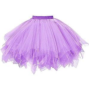 SHOBDW Disfraz de Carnaval Mujeres Plisadas Falda de Gasa de Adultos Falda de Baile tutú Retro Rockabilly Enaguas Miriñaques Faldas (Púrpura, Talla única)