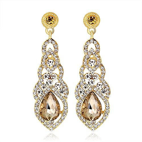 Pendientes Colgantes Mujer, Aretes de Mujer Grandes, Diamantes de Imitación de Cristal en Forma de Lágrima Pendientes Joyas de Piedras Preciosas Regalo para Mujeres Joyería