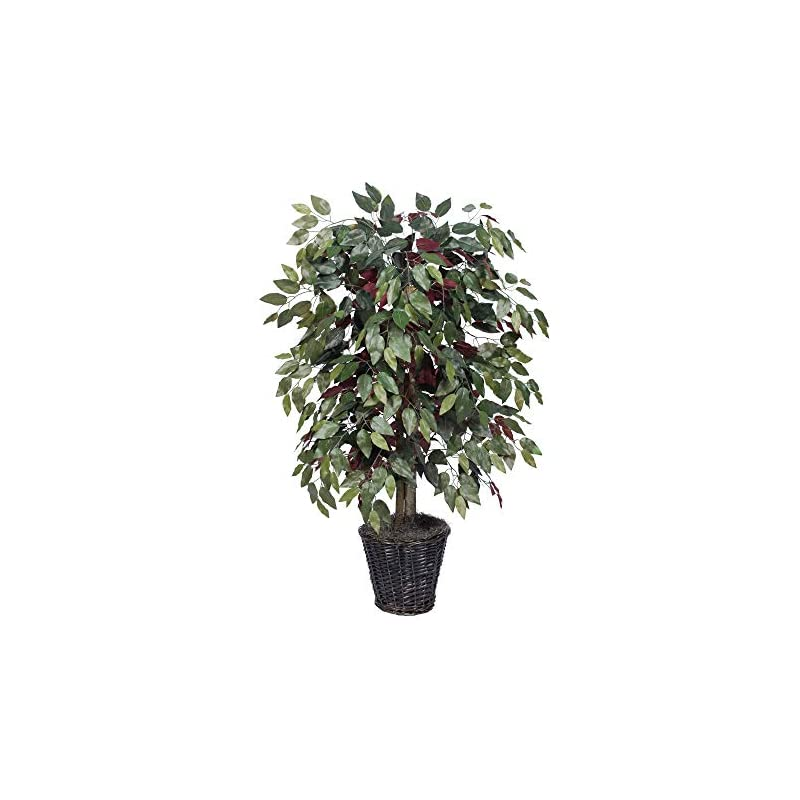 silk flower arrangements vickerman 4-feet artificial capensia bush in decorative rattan basket