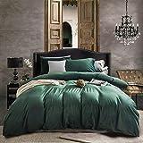 Nitwy Ropa de cama verde oscuro, 135 x 200 cm, franela cálida de invierno, funda de edredón con cremallera y 1 funda de almohada de 80 x 80 cm