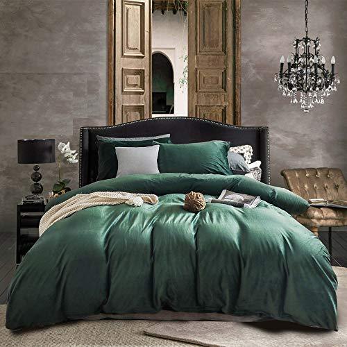 Nitwy - Biancheria da letto in flanella, 200 x 200 cm, calda, invernale, in peluche, per letto matrimoniale, copripiumino con chiusura lampo e 2 federe 80 x 80 cm