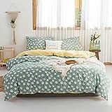VM VOUGEMARKET Twin Duvet Cover Set,100% Cotton White Daisy Floral Duvet Cover with Zipper Closure,Green Girls Bedding Set