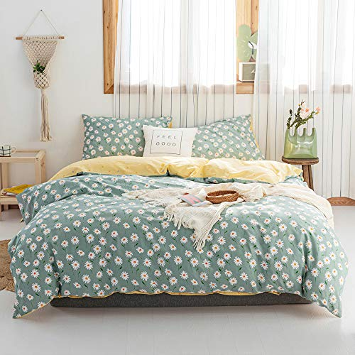 VCLIFE Green Yellow Floral Duvet Cover Sets Twin Cotton Bedding Sets Lightweight Girl Teengirl Woman White Flowers Bedding Collections Reversible Dots Geometric Quilt Cover Pillowcases No Comforter