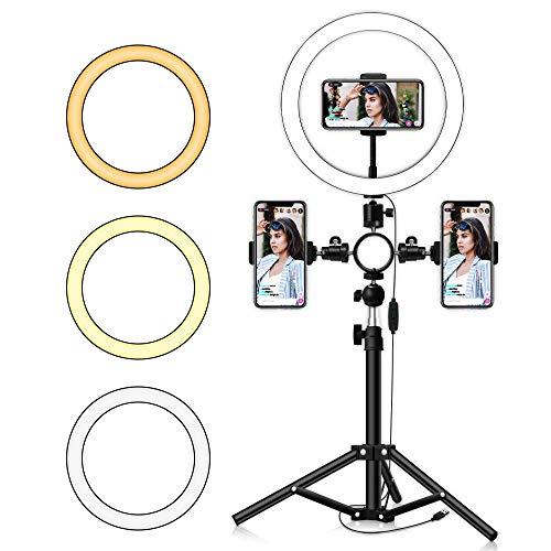 """Elikliv Luz Circular LED de 10""""con trípode para Kit de lámpara de Anillo en la Base de la Mesa de Maquillaje Selfie Temperatura de Color 3, Intensidad Variable de 10"""