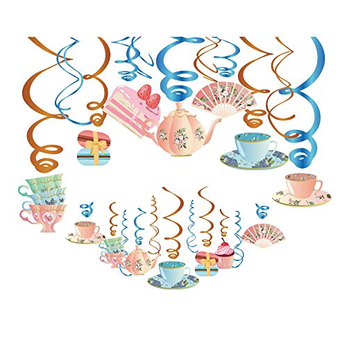 Kristin Paradise 30Ct Tea Time Hanging Swirl Decorations, Alice in Wonderland Party Supplies, English Tea Ceremony Birthday Theme Vintage Floral Decor for Boy Girl Baby Shower, Teacup Teapot Favors