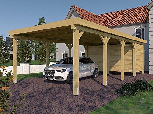 Carport (Flachdach) AVUS XX 400 cm x 800 cm mit Geräteraum