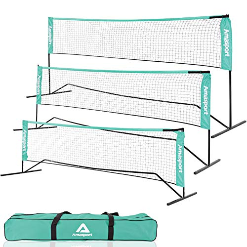 AMA SPORT Portable Badminton Net Set - Net for Tennis, Soccer Tennis, Pickleball, Kids Volleyball - Easy Setup Nylon Sports Net with Poles - for Indoor or Outdoor Court, Beach, Driveway (14)