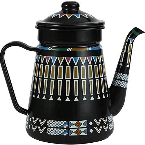 SYOSY Retro Emaille Kaffee Teekanne 1.5 Red Coffee teekessel Nostalgie Thermoskessel, für Induktionsherd und Gasherd,Schwarz