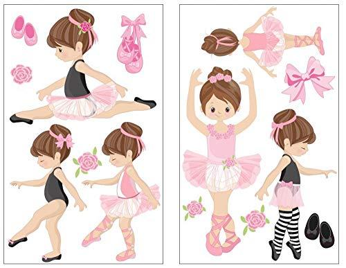 Samunshi® 14-teiliges Rosa Ballerina Mädchen Wandtattoo Set Pink Kinderzimmer Babyzimmer Ballett in 5 Größen (2x16x26cm Mehrfarbig)