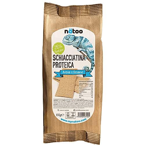NATOO Schiacciatine proteiche - 2 confezioni da 200gr. - Con farina d'avena - Vegan - Pochi zuccheri (Avena e sesamo)