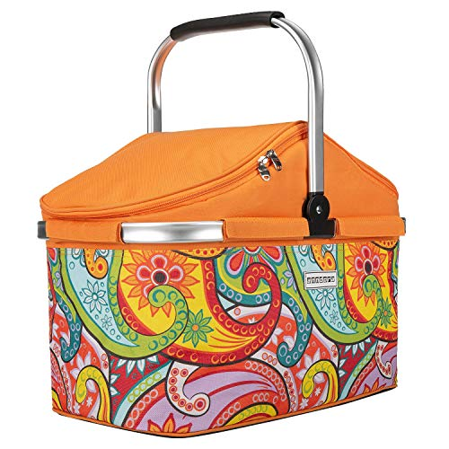 anndora Einkaufskorb 25 Liter Isolierkorb Picknick Kühlkorb - Paisley orange