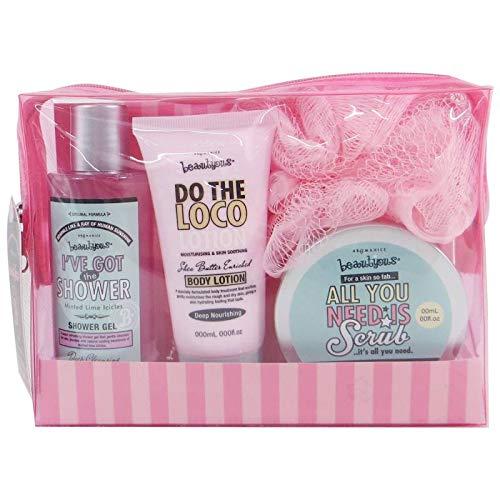 Coffret cadeau pour femme - Pochette de bain rectangulaire Rose Girly - Collection Beautyous - Karité/Vanille/Menthe citronnée