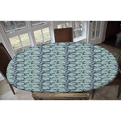 """LCGGDB - Tovaglia elastica in poliestere con motivo floreale, motivo floreale, con scritta in lingua inglese """"Oriental Folklore"""", con elastico allungato, per tavoli fino a 121,9 x 172,7 cm"""