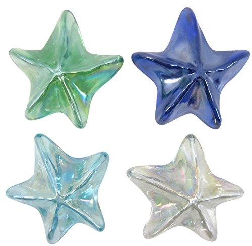 Chesapeake Bay 4 Glass Starfish Paperweights with Iridescent Finish 68550 3.5 Inch Diameter