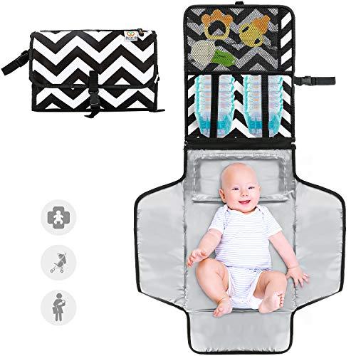 Cambiador de pañales portátil Zwini, almohadilla de cambio de pañal limpiable a prueba de agua con almohada acolchada Colchoneta de cambio de pañales desmontable y plegable grande 37.4'x 21.7'
