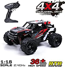 Remote Control Car, 36KM/H High Speed RC Truck, 1/18 Scale 4X4 Off Road-All Terrain 2.4Ghz Remote Control Car, 1200mAH Rechargeable Batteries Included for All Adults & Kids
