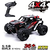 MaxTronic Remote Control Car, 36KM/H High Speed RC Truck, 1/18 Scale 4X4 Off Road-All Terrain 2.4Ghz Not Waterproof Remote Control Car, 1200mAH Rechargeable Batteries Included for All Adults & Kids