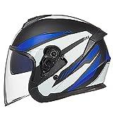 Caschi Casco Moto Demi-Jet Doppia visiera Motorino Motocicletta Helmet DOT/ECE omologato Cappello per Moto Semiaperto Protettivo Casco per Bici Scooter Moto (Color : Blue-A)