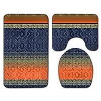 ZHUSHI 3個/セットヴィンテージカラフルフロアマットドアマットバスルームカーペット防水バスルーム便座カバーフロアマットバスルームの装飾 (Color : 08, Size : 40x60cm)