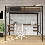 Metal Loft Bed with Table and Storage Shelves, Space-Saving Bed Frame with Bilateral Ladders and Safety Guard Rails for Boys & Girls
