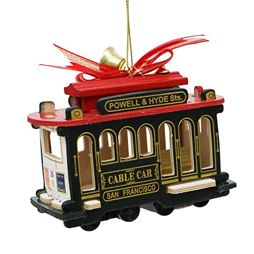 San Francisco Cable Car Christmas Ornament 4 Inch Red Green Wood 52446