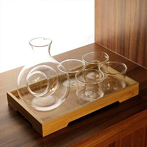 Wall Spotlights~mwsoz Sake-Set Botellas y Juegos de sakeJarra para Calentar Vino de Hielo de Estilo japonés, Juego de Sake de Cristal, 6 Piezas con Bandeja de Madera