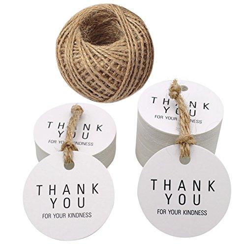 100 pz bianco Thank You Gift tag, 4.5 cm Thank You For Your Kindness carta kraft cartellini, etichette rotonde con 100 metri iuta spago (Bianco)