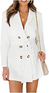 EnergyWomen Lapel Strappy Long-Sleeve Pure Color Double-Breasted Outwear Coat