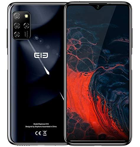 【2020】 ELEPHONE E10 Smartphone ohne Vertrag, Android 10 4G Handy, Fünf Kamera 48MP + 13MP, 6,5 '' Wassertropfenbildschirm, Octa Core 4GB+64GB, DUAL SIM + SD (3 Kartenschlitz), 4000mAh NFC Schwarz