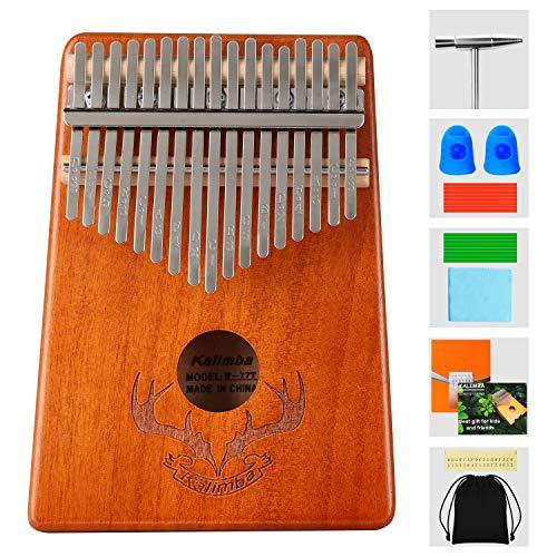 Topdécoré Professionelle Kalimba Daumenklavier 17 Schlüssel Thumb Piano, mit Tasche Stimmhammer Lehrbuch Aufkleber, Musikinstrument Kultivieren für Musikliebhaber Kinder Erwachsene Anfänger (Geweih)