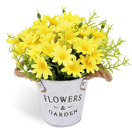 CASMON Potted Artificial Daisies Flowers in Metal Pot, Fake Silk Bonsai Plants with Vase for Indoor Bedroom Home Décor, Wedding Arrangements, Office Desk, Windowsill Decorations (Yellow)