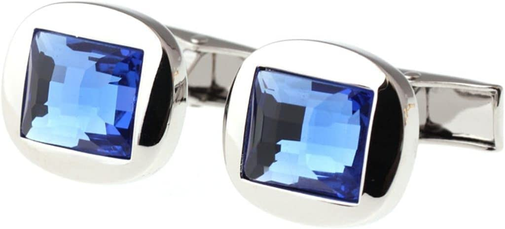 BO LAI DE Men's Cufflinks Square Blue Crystal Cufflinks Shirt Cufflinks Suitable for Business Events, Conferences and Dances, with Gift