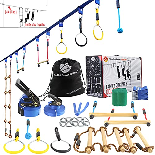Ninja Warrior Obstacle Course for Kids-2×56ft Slackline Kit, Hanging Activities Accessories - Monkey Bar, Rope Ladder, Monkey Fist, Rings, Slackline for Backyard Tree Training Equipment Outdoor Play
