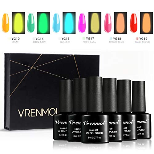 Vrenmol Glow in The Dark Nail Polish Luminous Gel Nail Polish Set - Fluorescent Bright 6pcs Colors - UV LED Nail Art Kit for Christmas 8ml