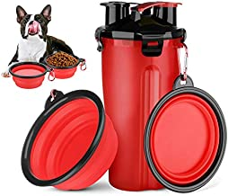 HETH Dog Travel Water Bottle, 2 in 1 Portable Dog Water Dispenser and Food Container with 2 Collapsible Bowls for Your Pets Walking and Traveling (Red)