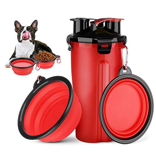 HETH Dog Travel Water Bottle 2 in 1 Portable Dog Water Dispenser and Food Container with 2 Collapsible Bowls for Your Pets Walking and Traveling Red
