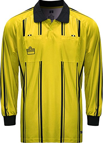 ADMIRAL Long Sleeve Pro Soccer Referee Jersey, Gold/Black, Adult X-Large