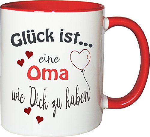 WarmherzIch Becher Tasse Glück ist… Oma Kaffee Kaffeetasse liebevoll Bedruckt Omi Großmutter Muttertag Weiß-Rot