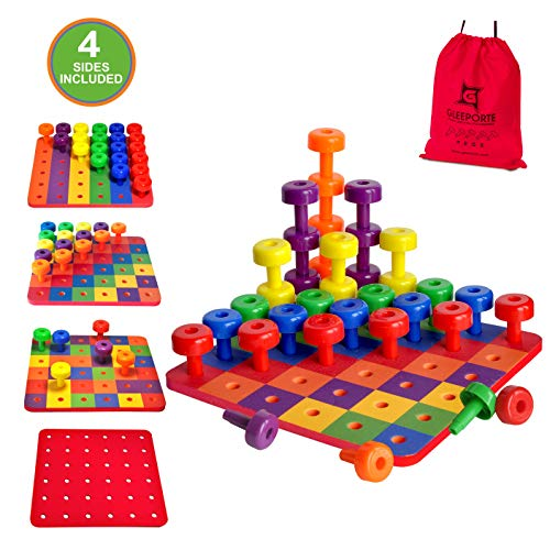 Patterned Stacking Peg Board Set Toy   Montessori Occupational Therapy Early Learning For Fine Motor Skills, Ideal for Toddlers and Preschooler, Includes 36 Plastic Pegs & 2 Boards, 4 Sides   Storage