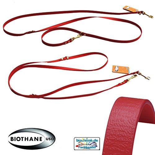 bio-leine Verstellbare robuste Hundeleine aus BioThane I Leine Doppelleine für sehr kleine Hunde - 2,5 m lang | Rot | 9 mm breit