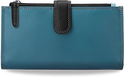 2er Set Portemonnaie Damen - Geldbörse VISCONTI buntes Naturleder Blau und Graphit - Farbtöne