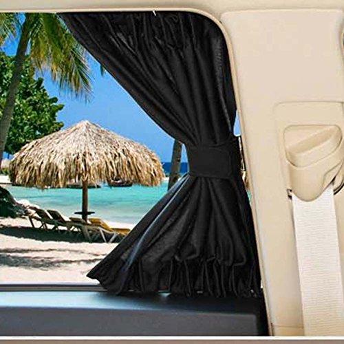 2 persianas para ventanas de coche o parasoles, cortinas de asiento trasero, para ventanilla de coche universal, parasol UV con cortina con cordón de 70 cm