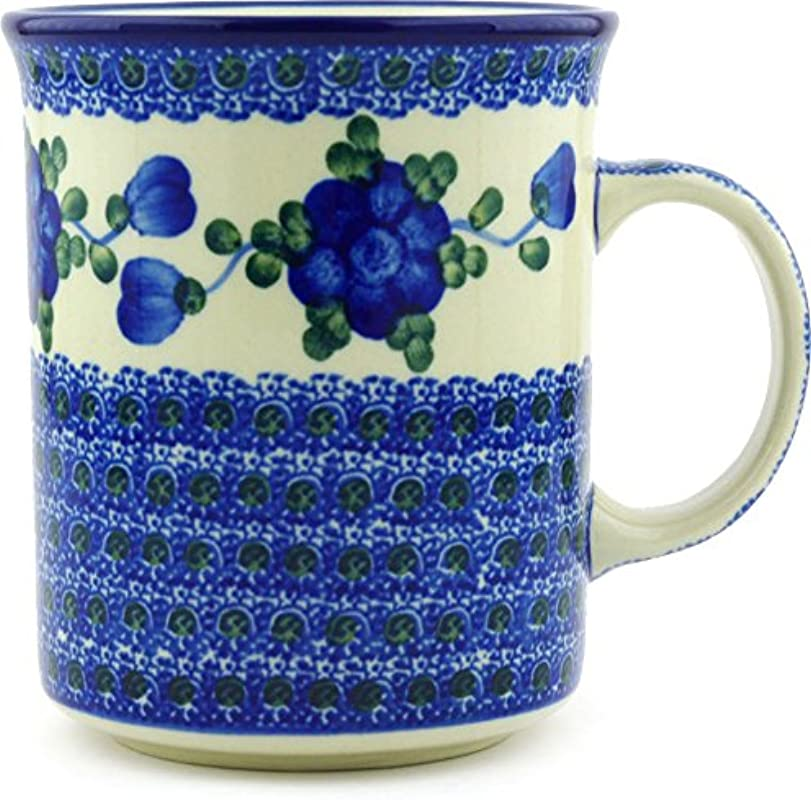 Polish Pottery Coffee Tea Mug 20 Oz Blue Poppies