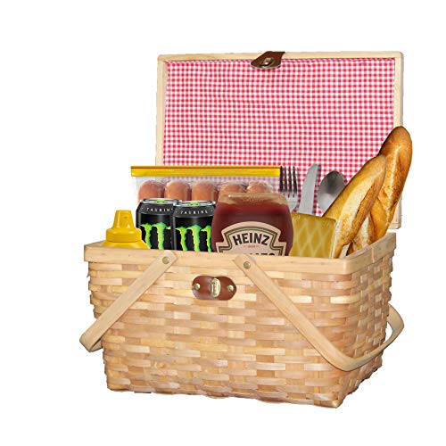 Vintiquewise.com QI003624 with Lid and Movable Handles Gingham Lined Woodchip Picnic Basket, Natural