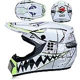 Casco de motocross para niños con guantes, gafas, máscara (4 unidades), casco BMX Downhill Enduro MTB para bicicleta de montaña, casco integral para mujer y hombre (tiburón blanco, talla L)