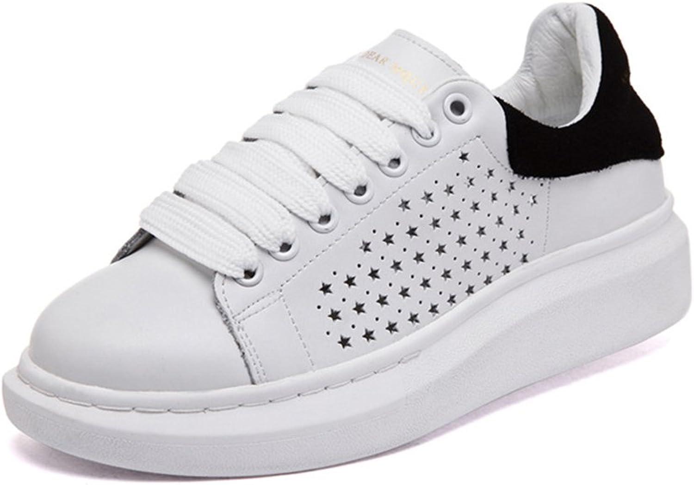 BININBOX Women's Leather Casual Sneaker White Platform shoes