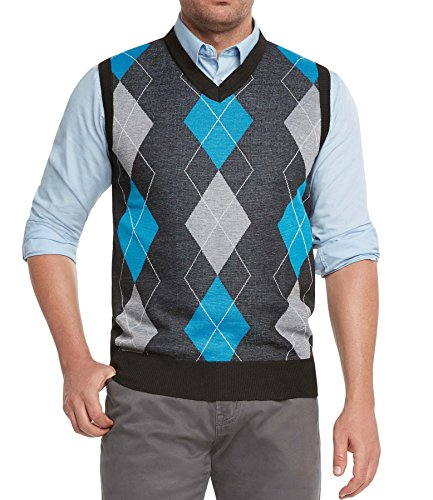True Rock Men's Argyle V-Neck Sweater Vest (Black/Blue/Gray, X-Large)