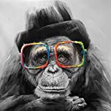 N / A Art Deco Modern Decoration Painting Black Gorilla Wall Picture For Living Room Canvas Art Print Animal Painting Frameless 50X50CM