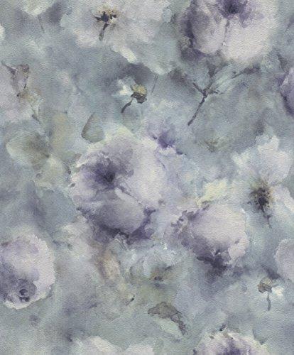 rasch Tapete 467307 aus der Kollektion Vincenza – Vliestapete mit floralem Aquarell in Lila auf blauem Hintergrund – 10,05m x 53cm (L x B)